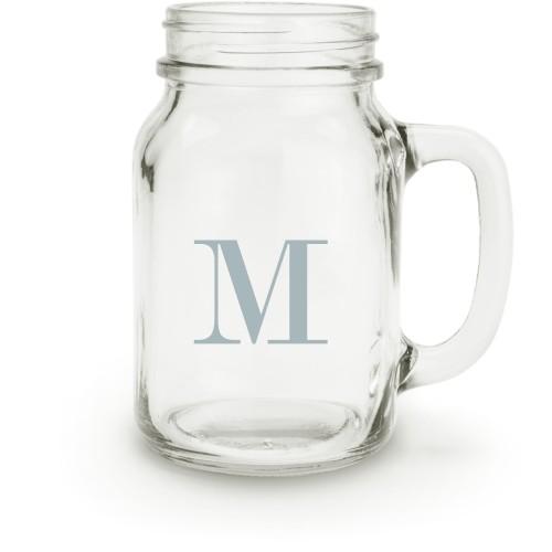Big Initial Mason Jar, White