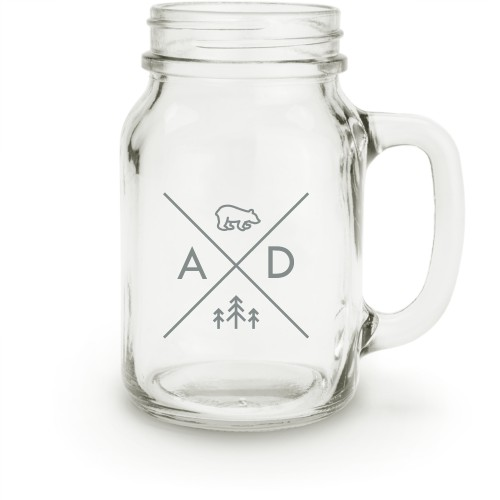 Bear Adventure Mason Jar, White