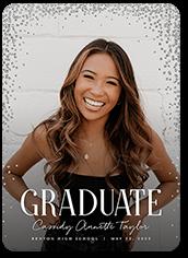 glimmering confetti class graduation announcement 5x7 flat