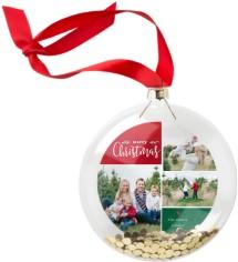 classic christmas collage glitter ornament