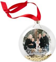 snowflake christmas script glitter ornament