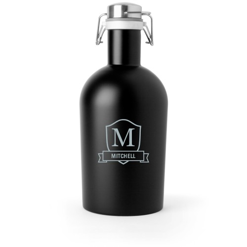 Plaque and Banner Growler, Growler Single Side, Stainless Steel, Matte Black, White