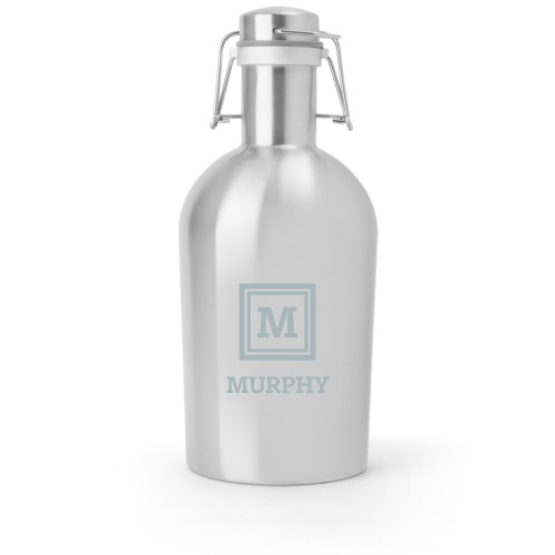 Keyline Monogram Growler, Growler Single Side, Stainless Steel, Stainless Steel, White
