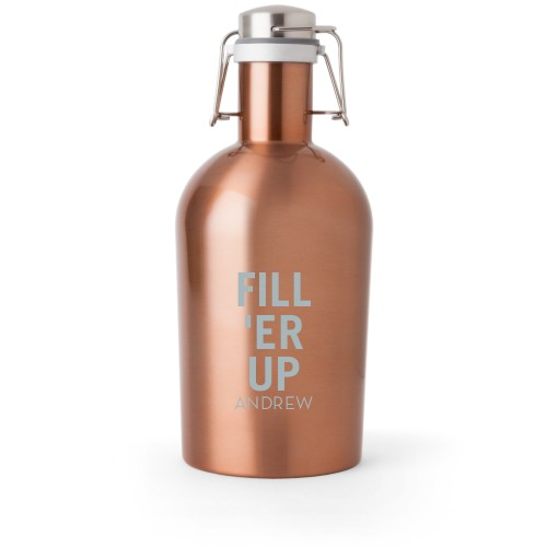 Fill Er Up Growler, Growler Double Side, Stainless Steel, Copper, White
