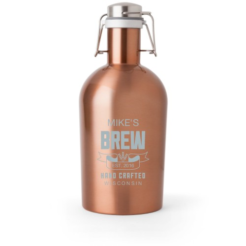 Brew Banner Growler, Growler Double Side, Stainless Steel, Copper, White