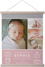 welcome baby girl hanging canvas print