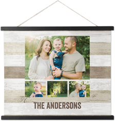 wooden collage of four hanging canvas print