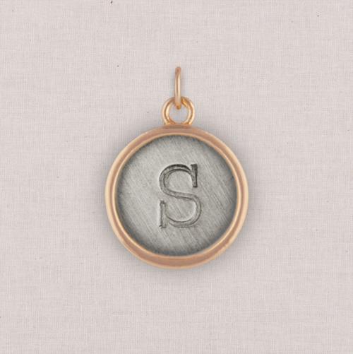 Rose Gold Circle Initial Charm, White