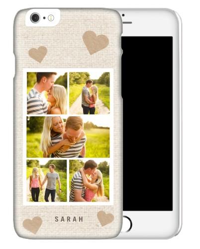 Heart All Over Burlap iPhone Case, Slim case, Matte, iPhone 6s, Beige