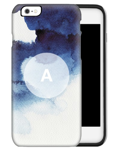Abstract Blue Watercolor iPhone Case, Silicone liner case, Matte, iPhone 6s, White