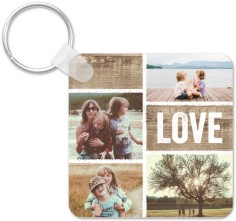 textured collage key ring