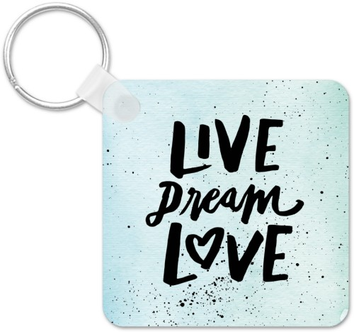 Live Dream Love Splatters Key Ring, Square, Blue