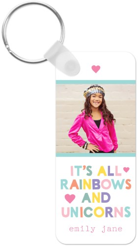 Emoji Rainbow Unicorn Key Ring, Rect, Pink