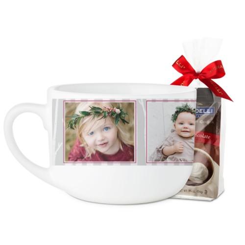 Rustic Birch Latte Mug, White, with Ghirardelli Premium Hot Cocoa, 25oz, Grey