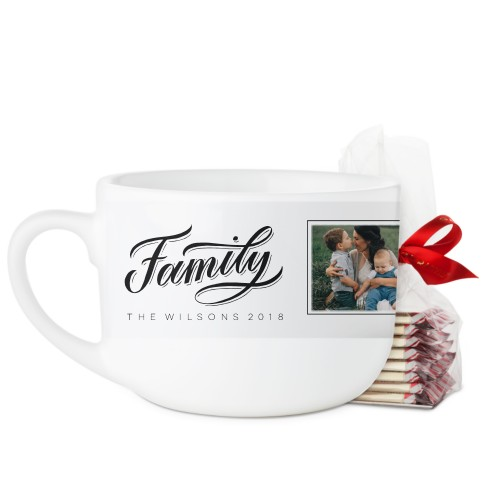 Family Script Latte Mug, White, with Ghirardelli Peppermint Bark, 25oz, White
