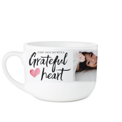 Grateful Heart Latte Mug, White,  , 25oz, White