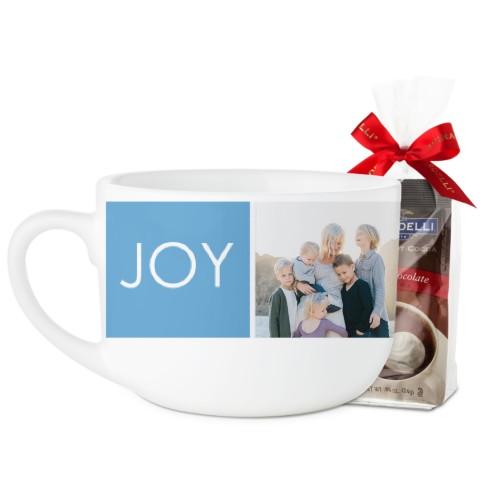 Joy Love Family Block Latte Mug, White, with Ghirardelli Premium Hot Cocoa, 25oz, White