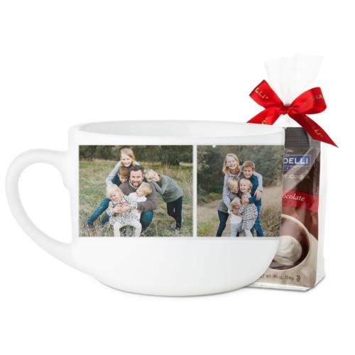Cup of Love Collage Latte Mug, White, with Ghirardelli Premium Hot Cocoa, 25oz, White