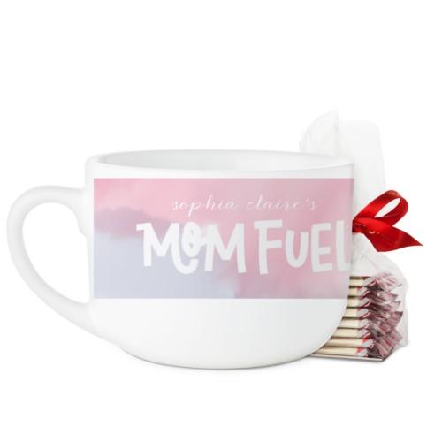Mom Fuel Latte Mug, White, with Ghirardelli Peppermint Bark, 25oz, White