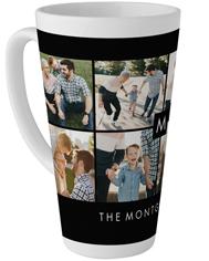 collage of eight monogram family tall latte mug