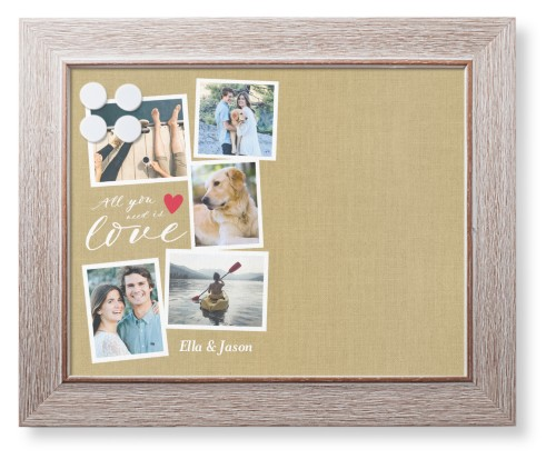 Love Script Collage Framed Magnetic Board, Rustic, Modern, 11 x 14 inches, Beige