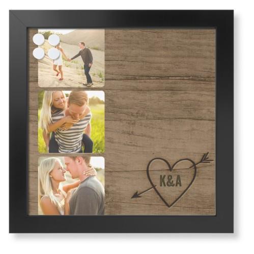 Initial Wood Heart Framed Magnetic Board