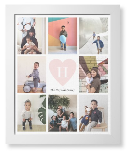 Painted Heart Framed Magnetic Board, White, Contemporary, 16 x 20 inches, White
