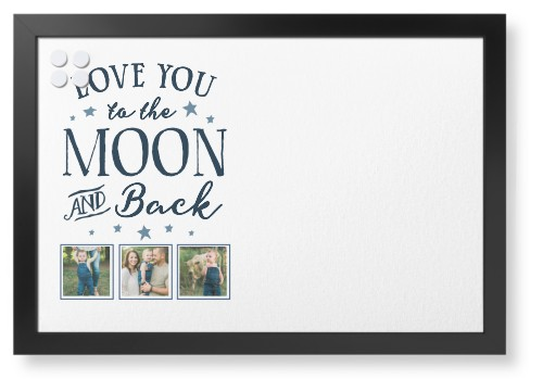 Moon and Back Script Collage Framed Magnetic Board