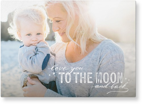 To The Moon and Back Script Metal Wall Art, Single piece, 10 x 14 inches, True Color / Matte, White