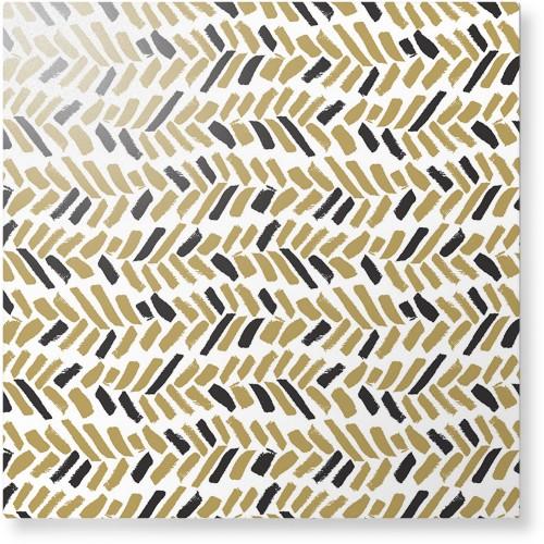 Herringbone Brushstroke Metal Wall Art, Single piece, 16 x 16 inches, True Color / Glossy, ...