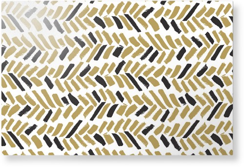 Herringbone Brushstroke Metal Wall Art, Single piece, 20 x 30 inches, True Color / Glossy, ...