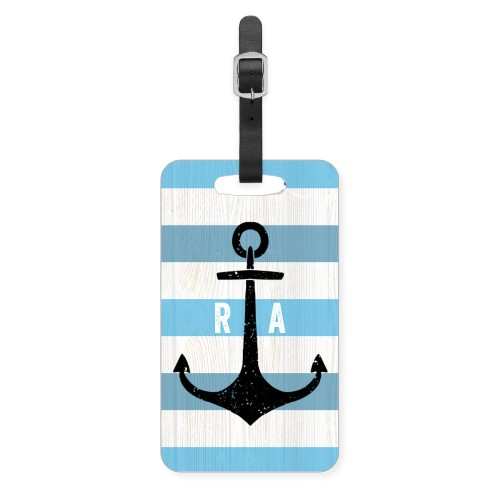 Anchored Monogram Luggage Tag, Large, Blue