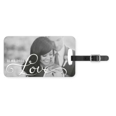 hand lettered love luggage tag