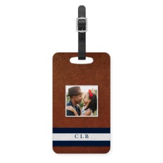 initial stripe banner luggage tag