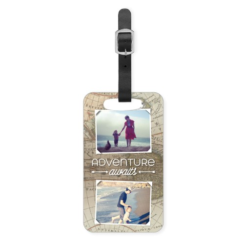 Map of Adventure Luggage Tag, Small, Beige