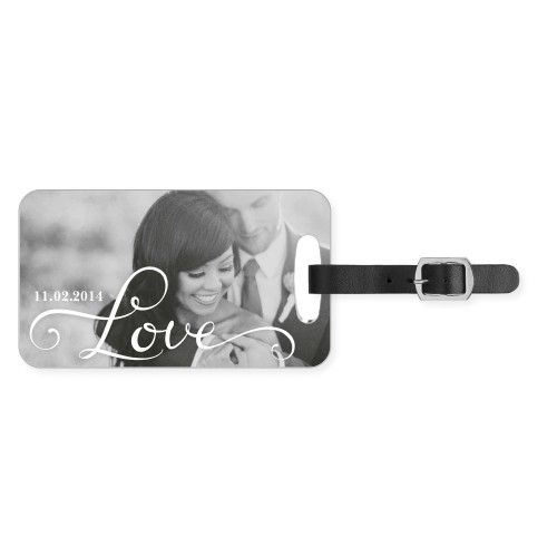 Hand-Lettered Love Luggage Tag, Small, White