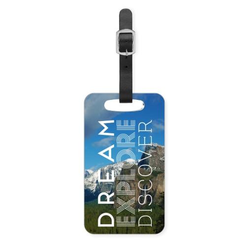 Dream Explore Discover Luggage Tag, Small, White
