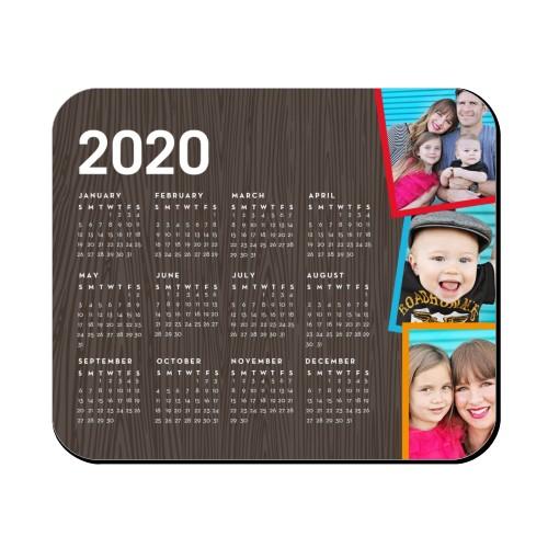 Tilty Woodgrain Calendar Mouse Pad, Rectangle, Brown