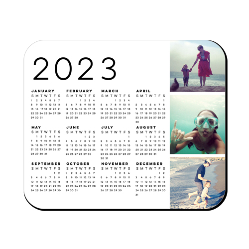 Gallery Calendar Mouse Pad, Rectangle, White