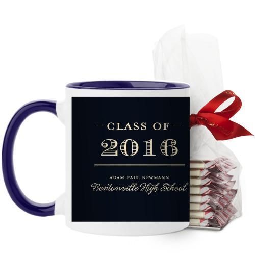 Graduation Masculine Mug, Blue, with Ghirardelli Peppermint Bark, 11 oz, Black