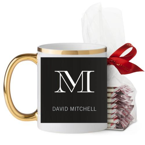 Monogram Black Mug, Gold Handle, with Ghirardelli Peppermint Bark, 11oz, Black