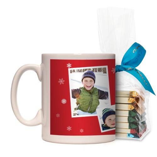Snowflakes All Around Mug, White, with Ghirardelli Assorted Squares, 11 oz, Red
