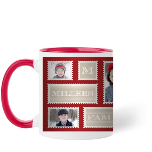 Love Family Stamps Mug, Red,  , 11 oz, Red
