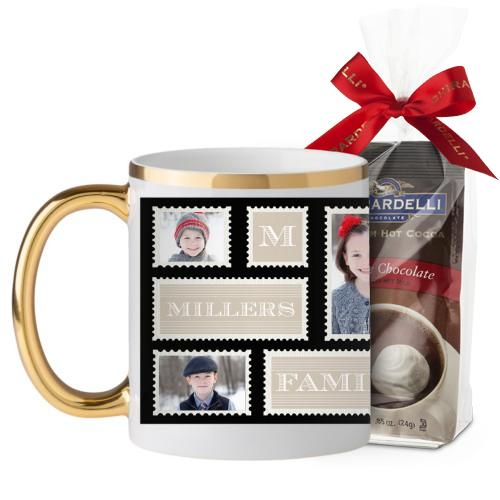 Love Family Stamps Mug, Gold Handle, with Ghirardelli Premium Hot Cocoa, 11oz, Black
