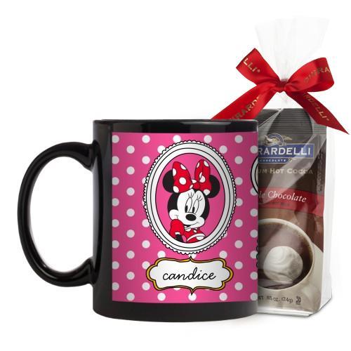 Disney Minnie And Friends Mug, Black, with Ghirardelli Premium Hot Cocoa, 11 oz, Pink