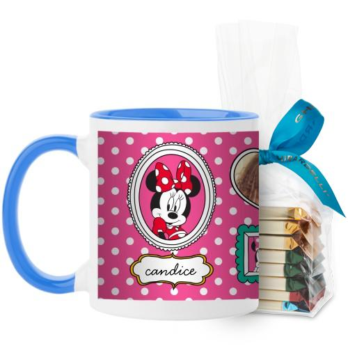 Disney Minnie And Friends Mug, Light Blue, with Ghirardelli Assorted Squares, 11oz, Pink