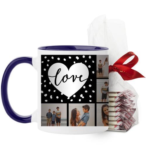 Love Script Grid Mug, Blue, with Ghirardelli Peppermint Bark, 11 oz, Black