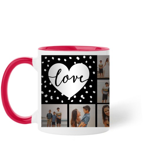Love Script Grid Mug, Red,  , 11oz, Black