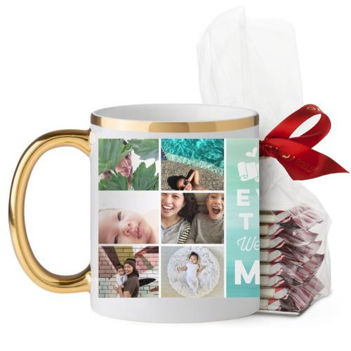 Ombre Grid Mug, Gold Handle, with Ghirardelli Peppermint Bark, 11 oz, Green