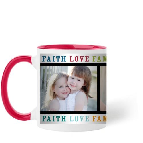 Faith Love Family Mug, Red,  , 11 oz, Multicolor